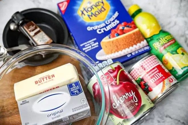 No Bake Cherry Cheesecake ingredients