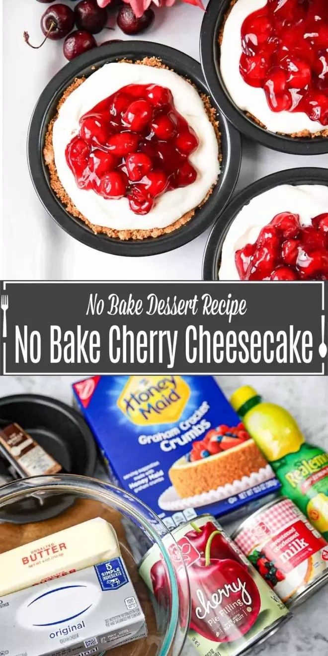 Pinterest image for No Bake Cherry Cheesecakes with title text