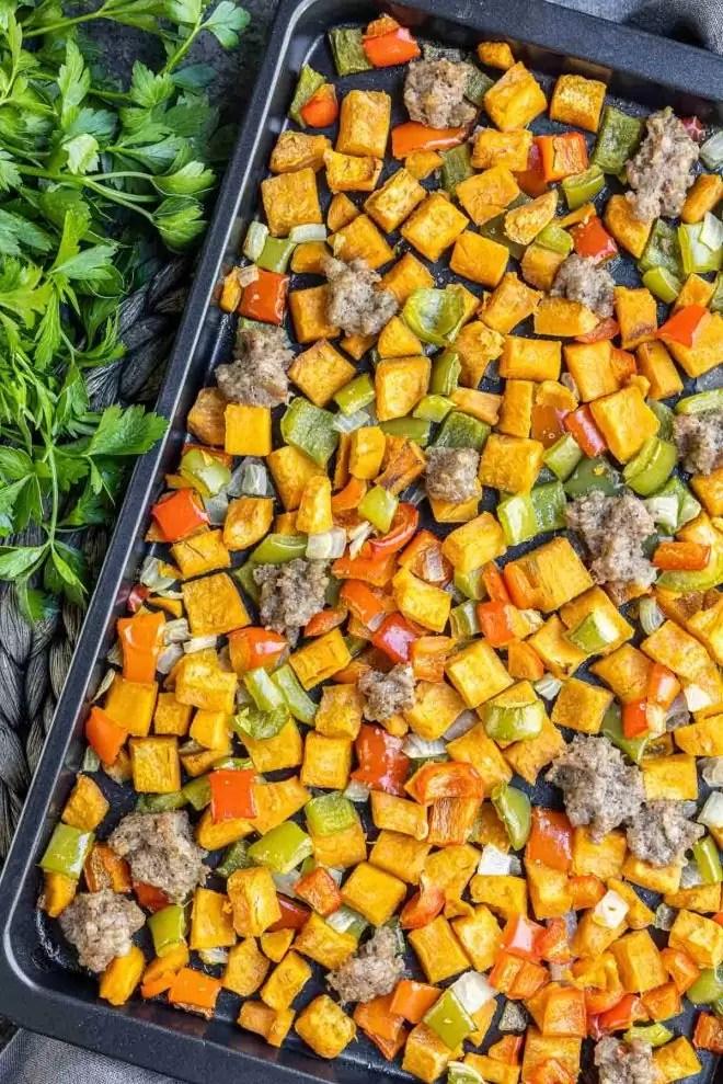 sheet pan Sweet Potato Hash meal