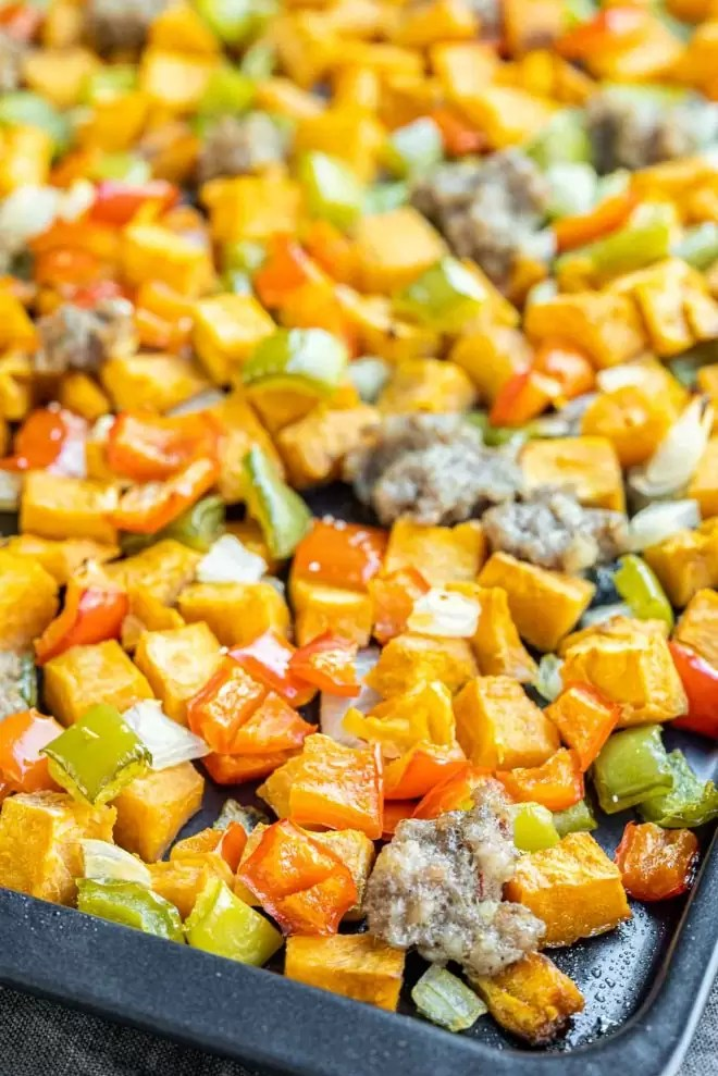 Sweet Potato Hash with peppers and sausage