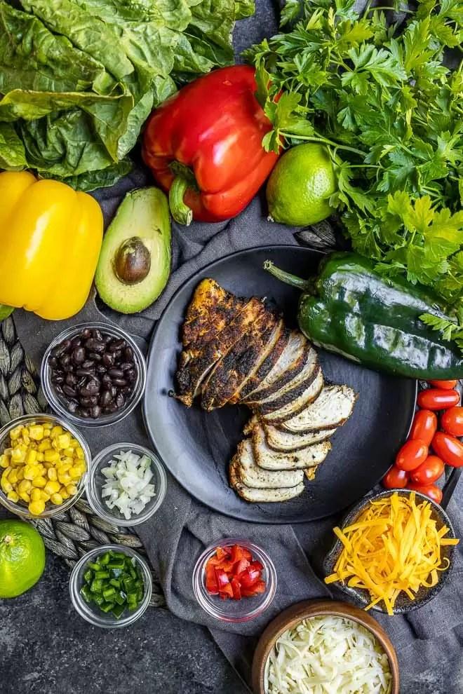 Blackened Chicken and salad ingredients