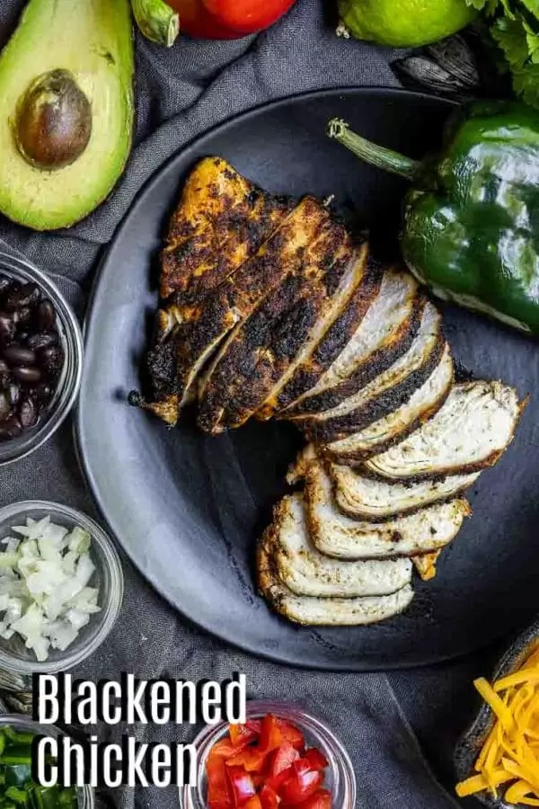 Pinterest image of Blackened Chicken with title text