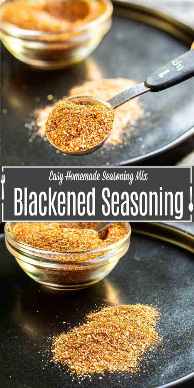 Pinterest image for Blackened seasoning with title text
