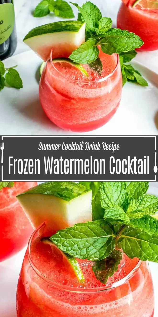 Pinterest image for Frozen Watermelon Cocktail with title text