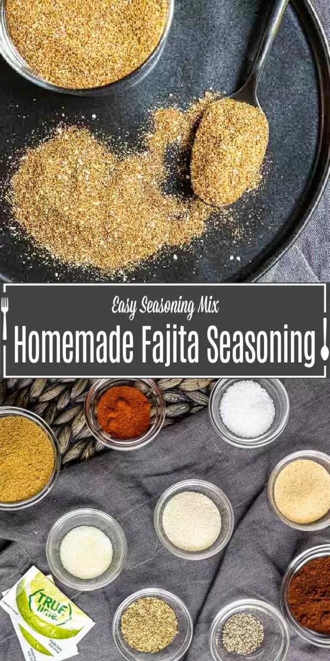 Pinterest image of Homemade Fajita Seasoning with title text