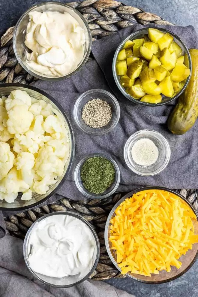 ingredients for Keto Dill Pickle Salad