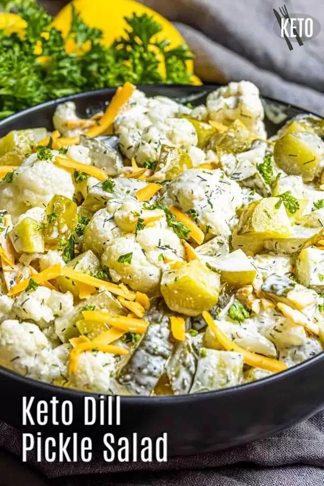 Pinterest image for Keto Dill Pickle Salad with title text