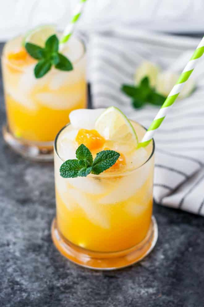 Passion Fruit Mojito garnished with mint sprig