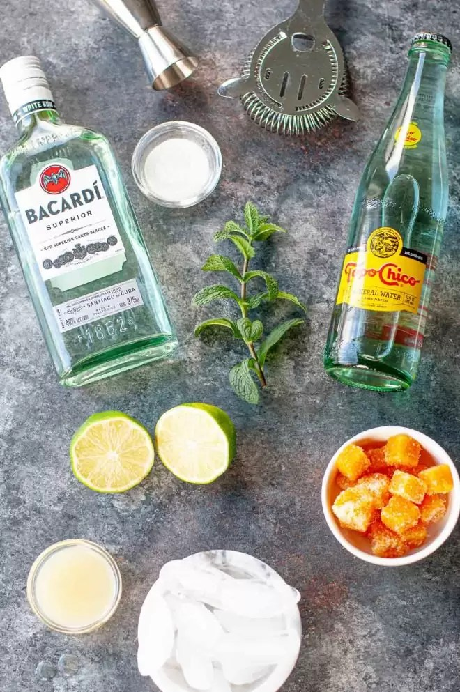 ingredients to make a Passion Fruit Mojito