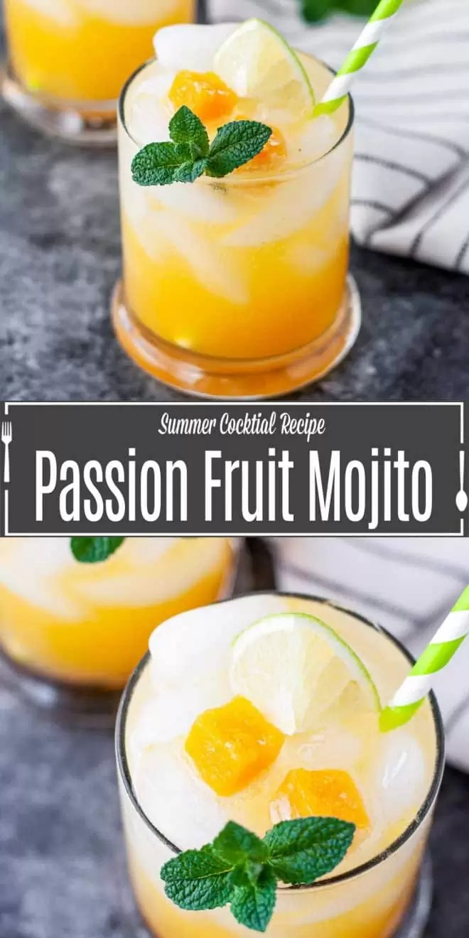 Pinterest image for Passion Fruit Mojito with title text