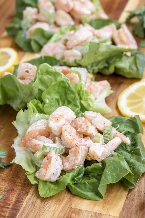 keto Shrimp Salad in lettuce cups