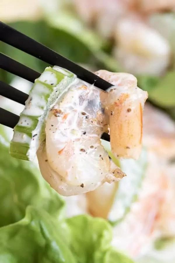 Shrimp Salad on a fork