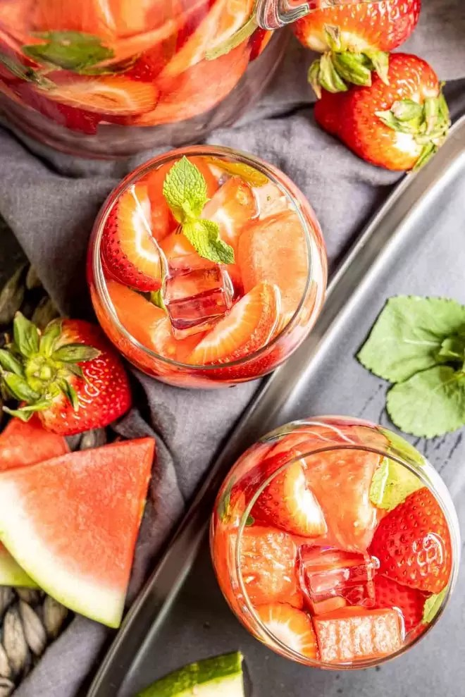 homade Strawberry Watermelon Infused Water in a glasses