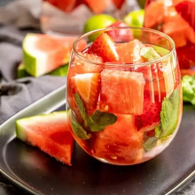Strawberry Watermelon Infused Water in a glass