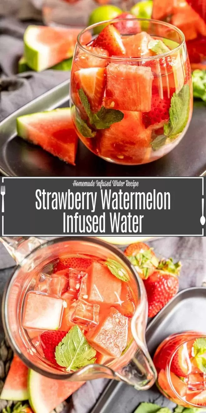 Pinterest image of Strawberry Watermelon Infused Water with title text