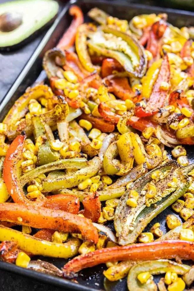 Veggie Fajitas on sheet pan