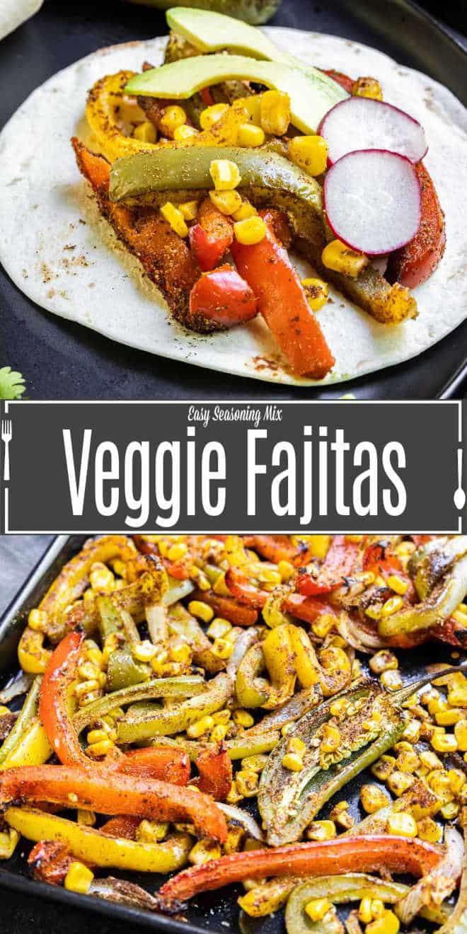 Pinterest image of Veggie Fajitas with title text