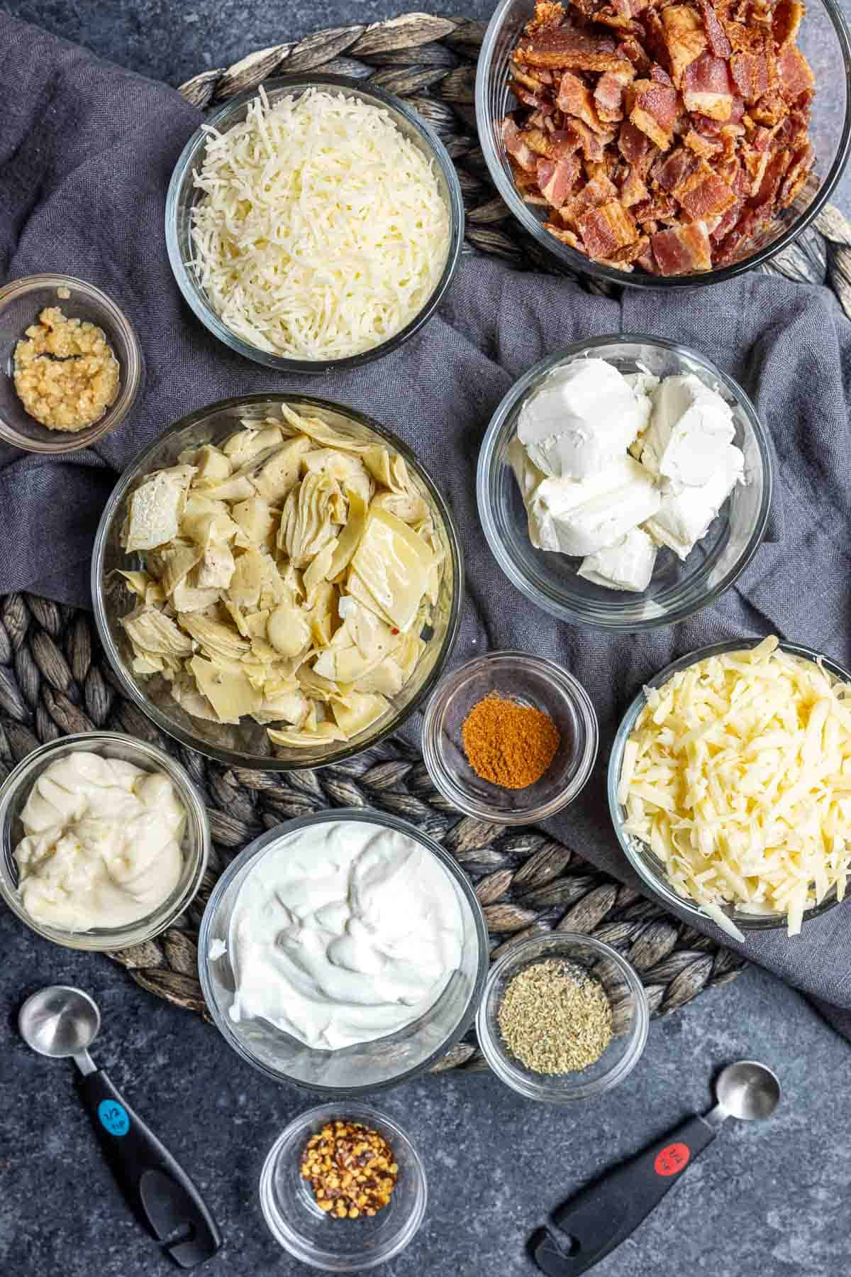 ingredients for Bacon Artichoke Dip