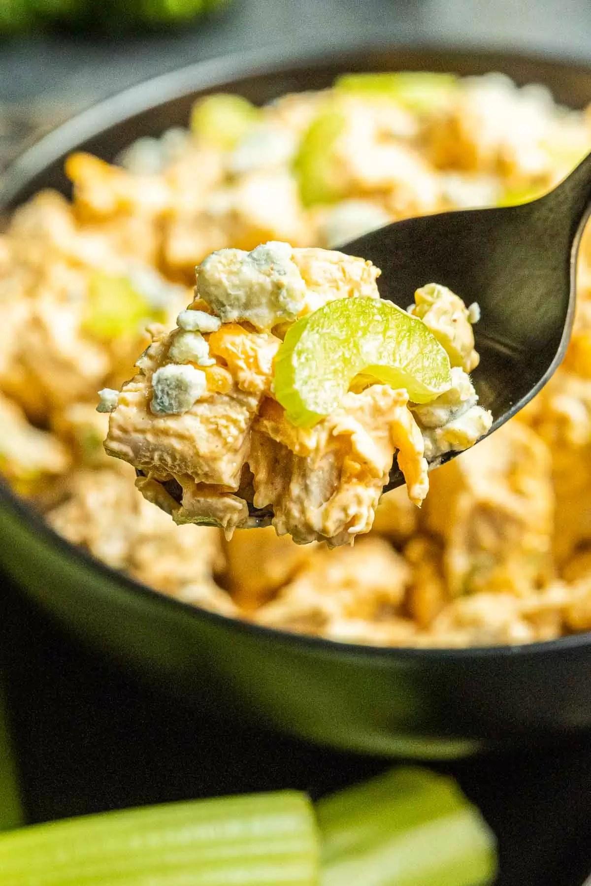 Buffalo Chicken Salad on a black spoon