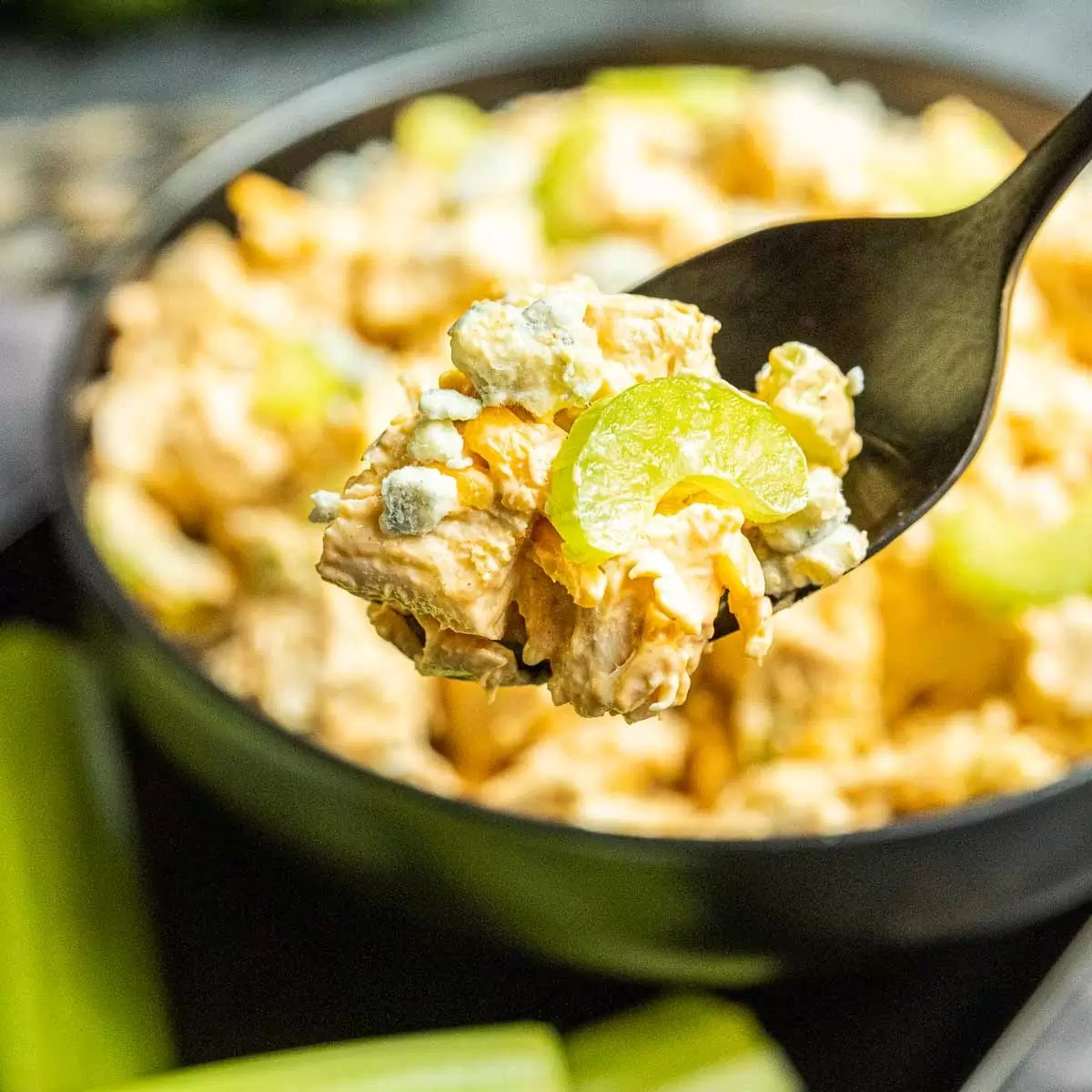 Buffalo Chicken Salad on a spoon