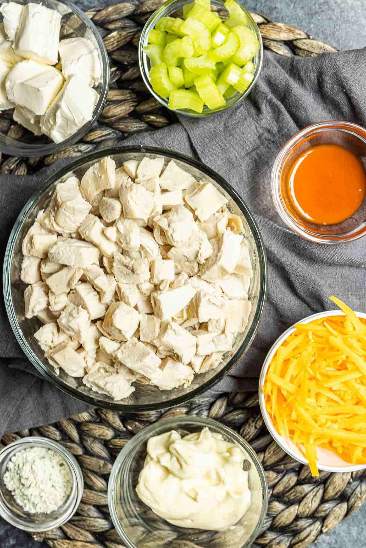 ingredients for Buffalo Chicken Salad