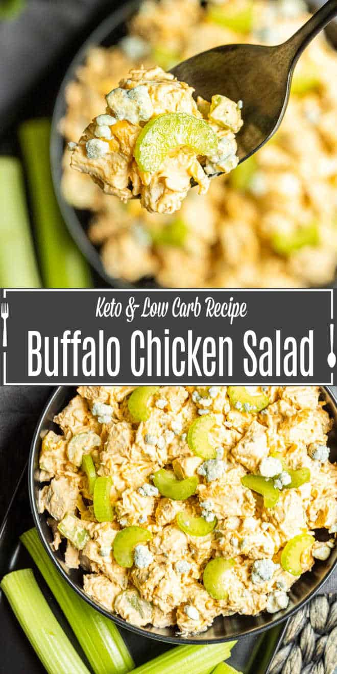 Pinterest image for Buffalo Chicken Salad with title text
