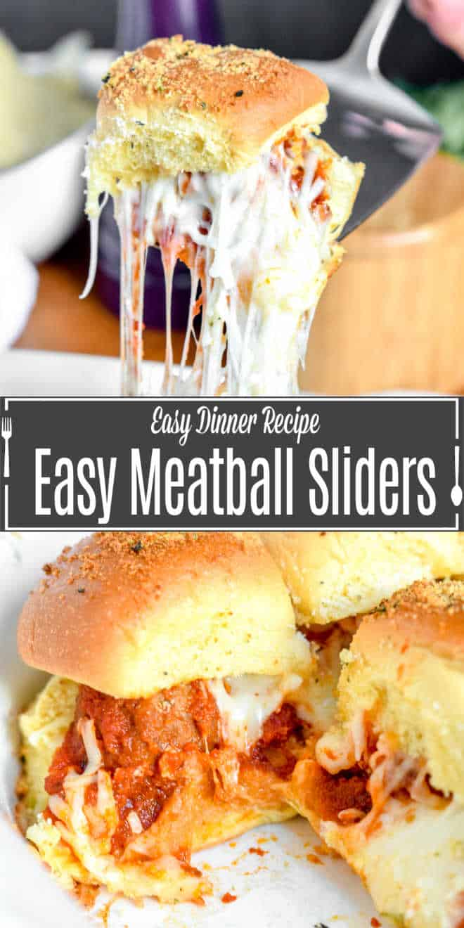 Pinterest image of Easy Meatball Sliders with title text
