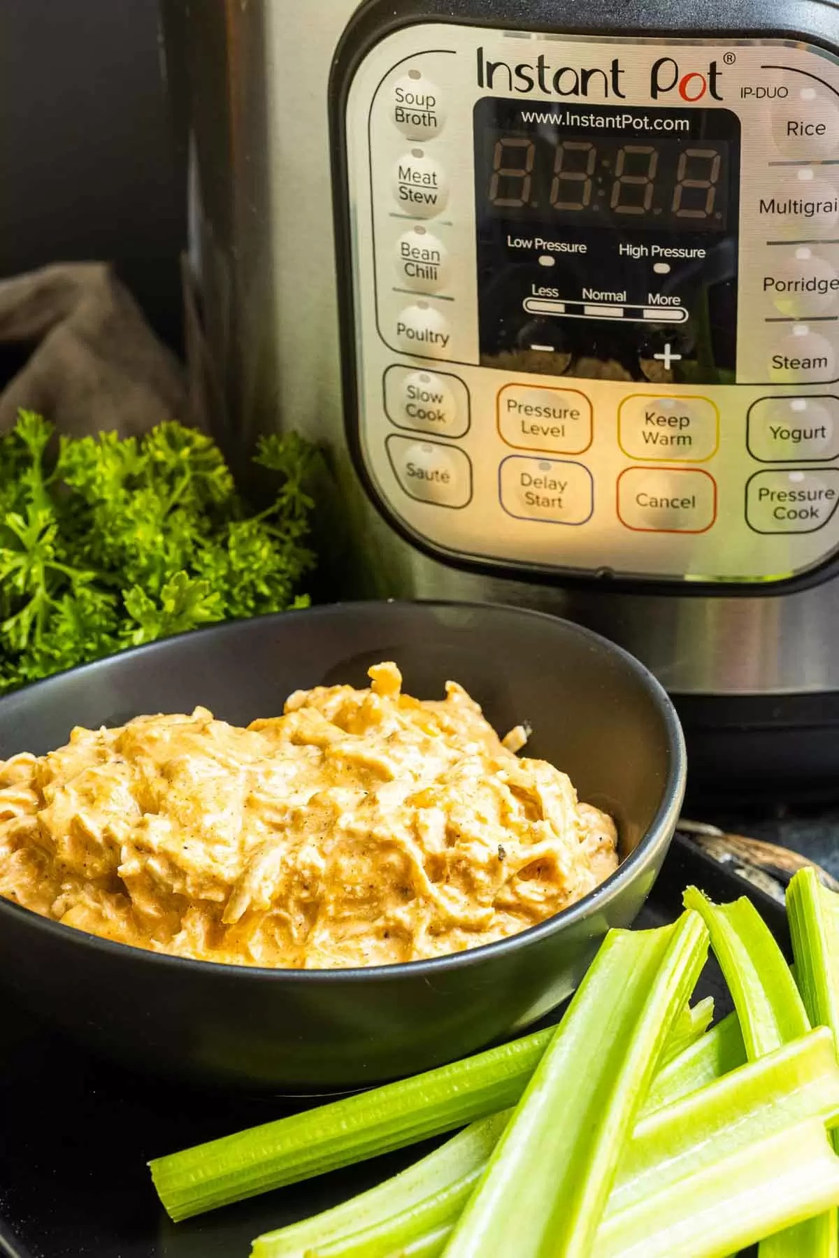 plate of celery sticks with a bowl of Instant Pot Buffalo Chicken Dip