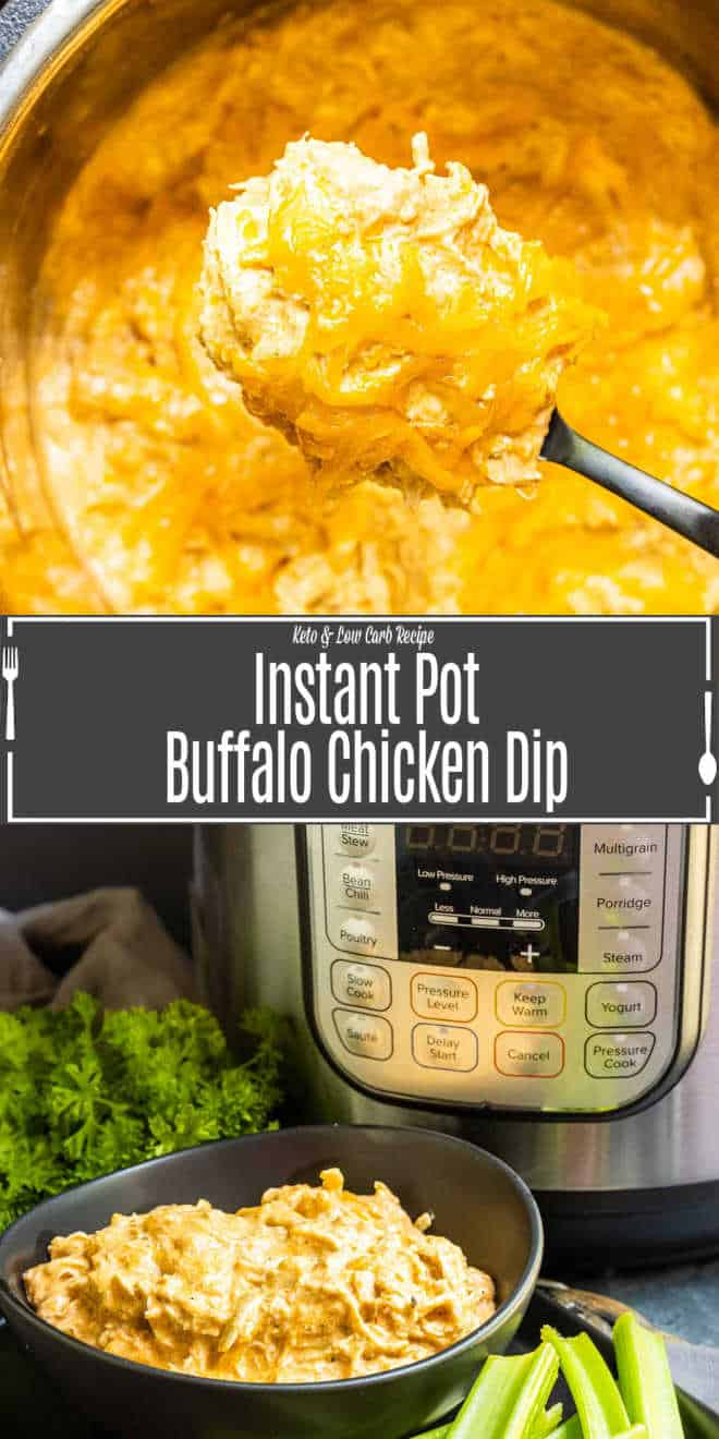 Pinterest image for Instant Pot Buffalo Chicken Dip with title text