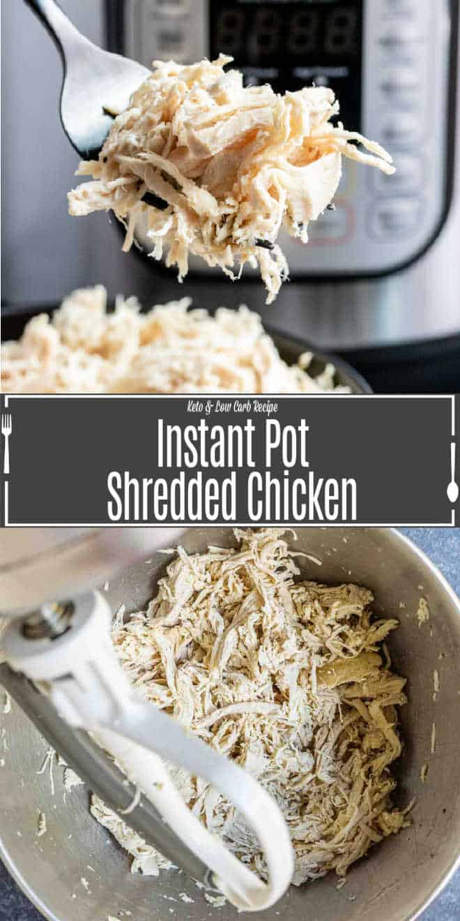 Pinterest image for Instant Pot Shredded Chicken with title text