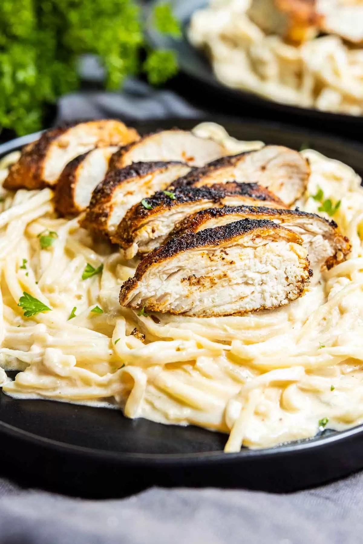 Keto Cajun Chicken Alfredo Pasta on a plate