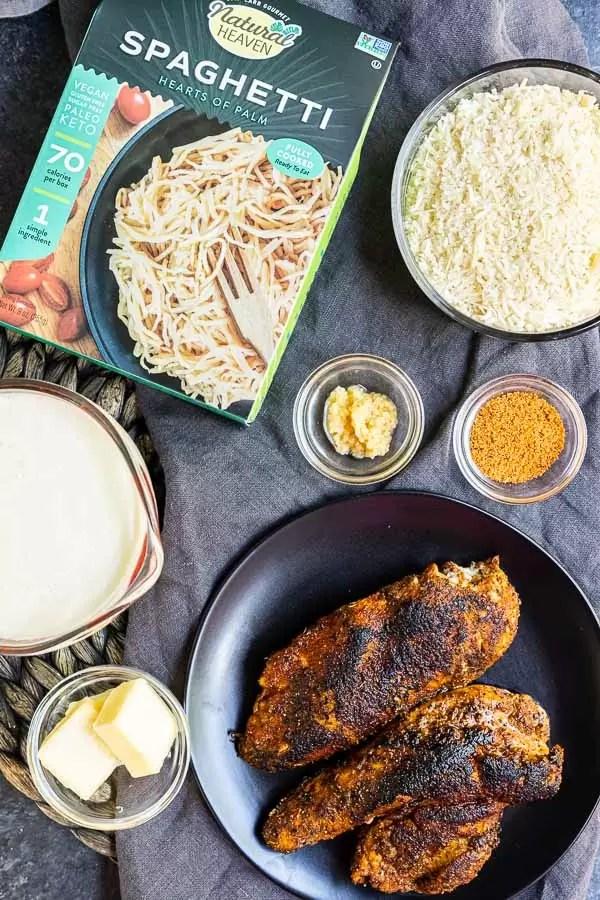 Keto Cajun Chicken Alfredo Pasta ingredients