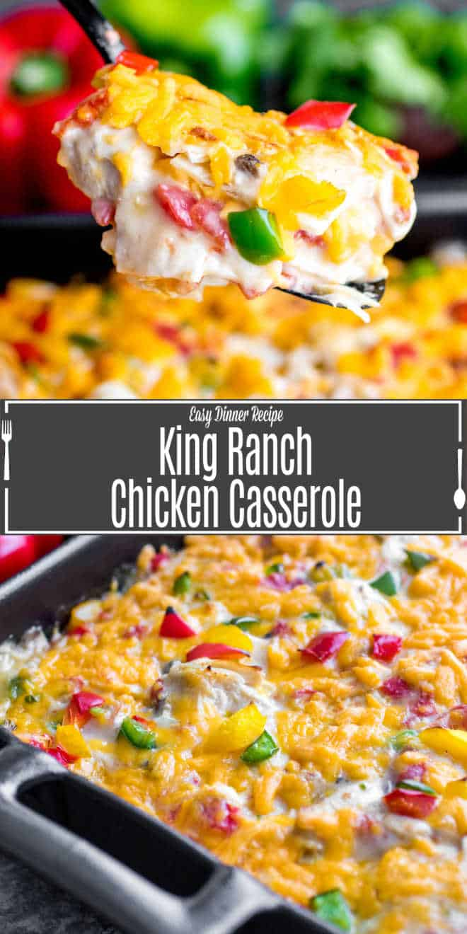 Pinterest image for King Ranch Chicken Casserole with title text