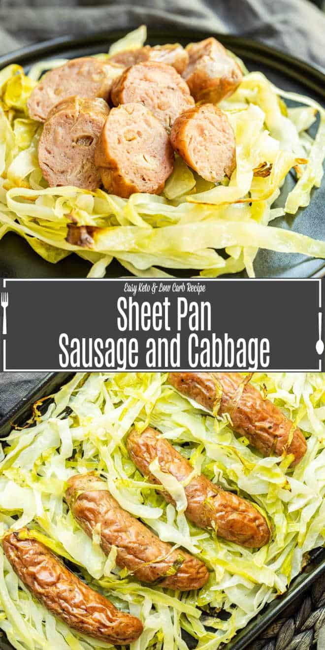 Pinterest image of Sheet Pan Sausage and Cabbage with title text
