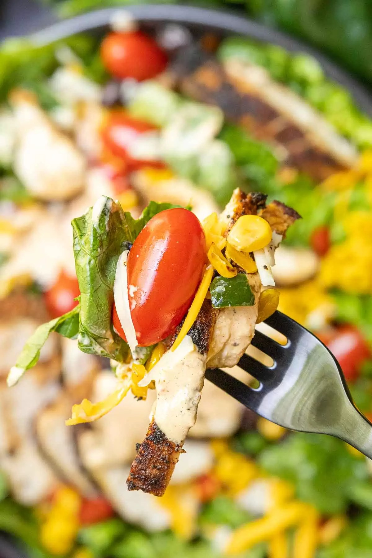 Southwest Salad on a fork with dressing