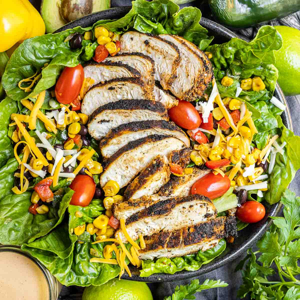 Southwest Salad made with blackened chicken