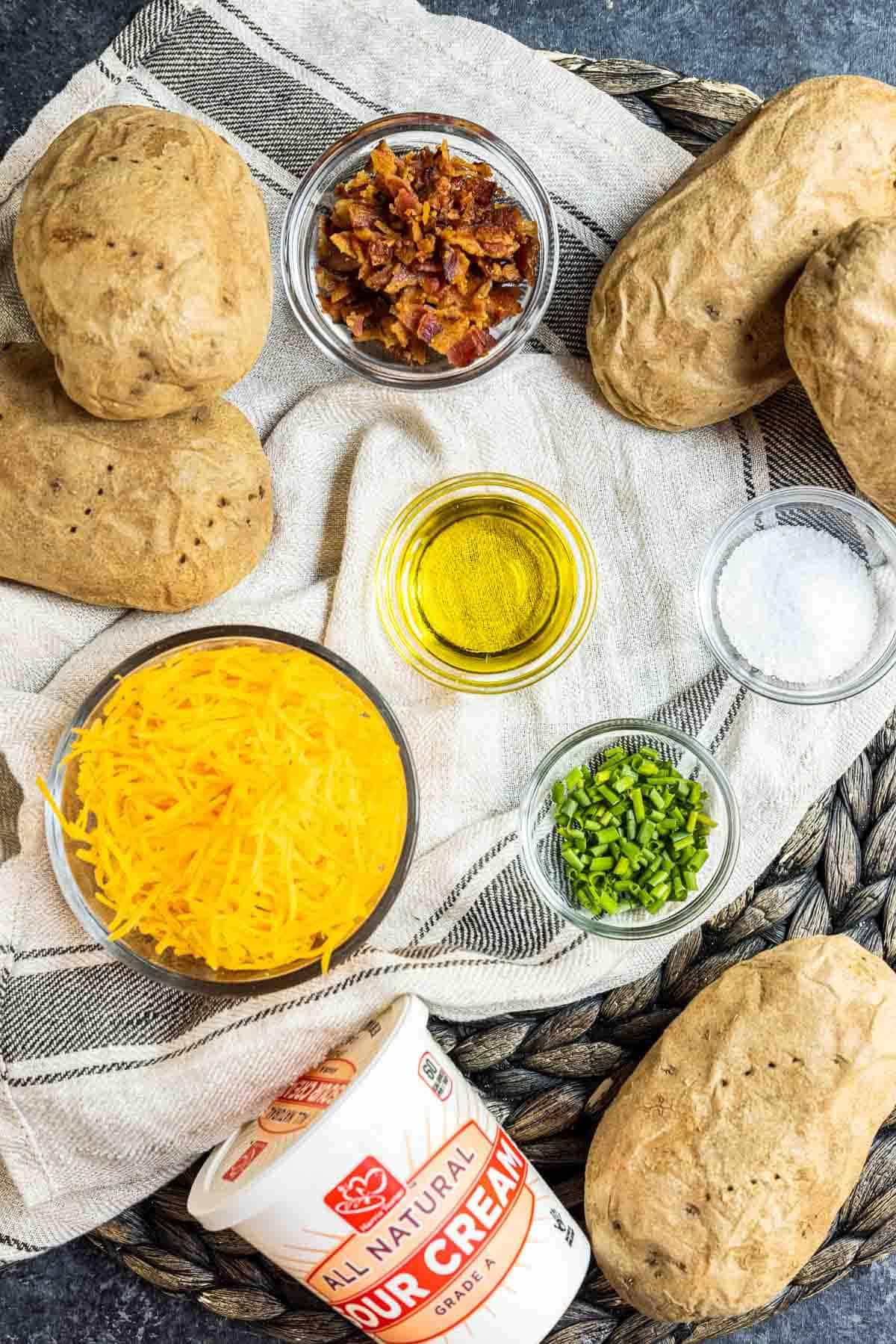 ingredients to make Air Fryer Potato Skins