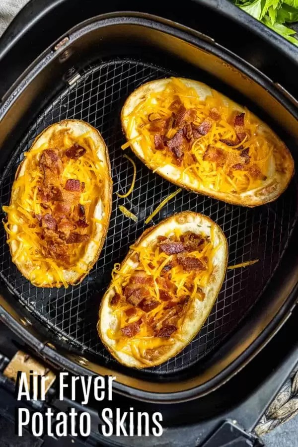 Pinterest image for Air Fryer Potato Skins with title text