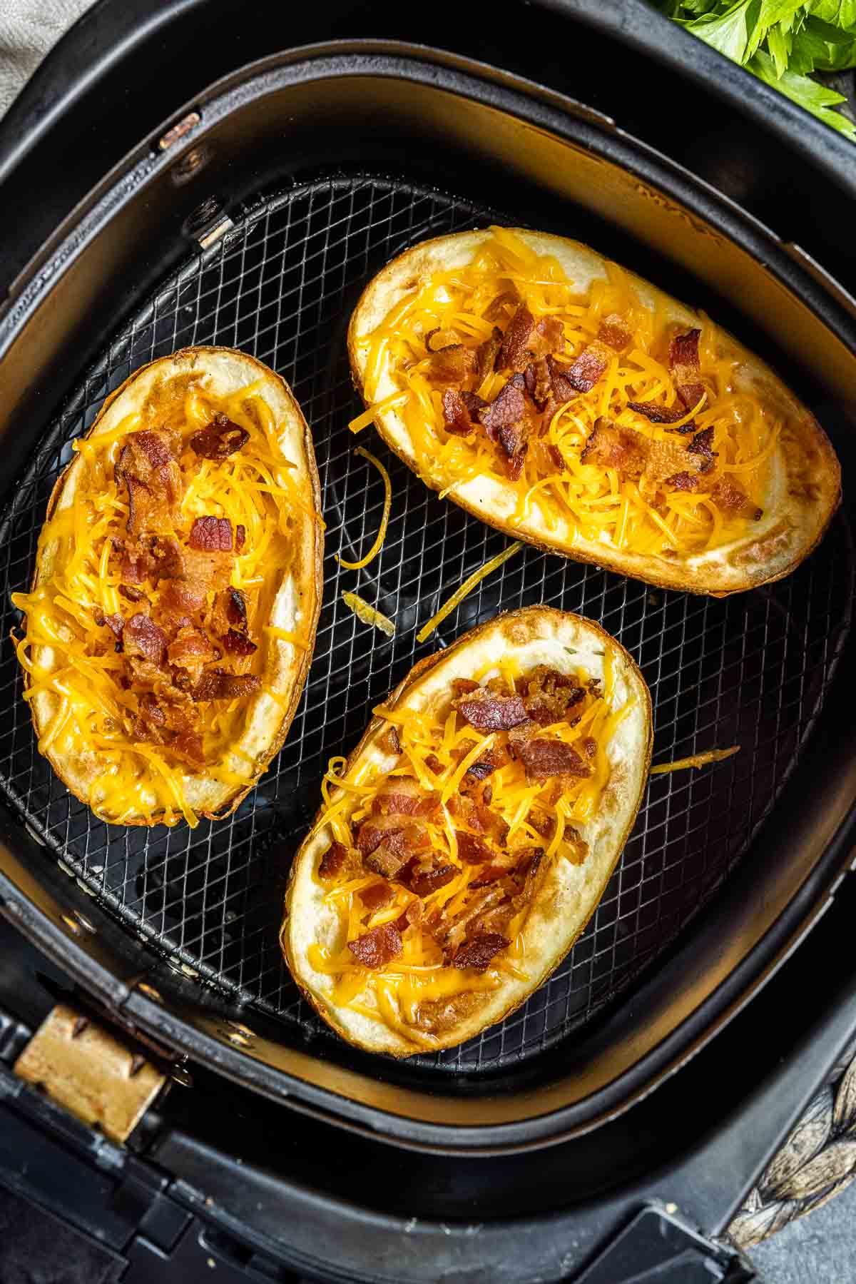 Air Fryer Potato Skins in air fryer basket