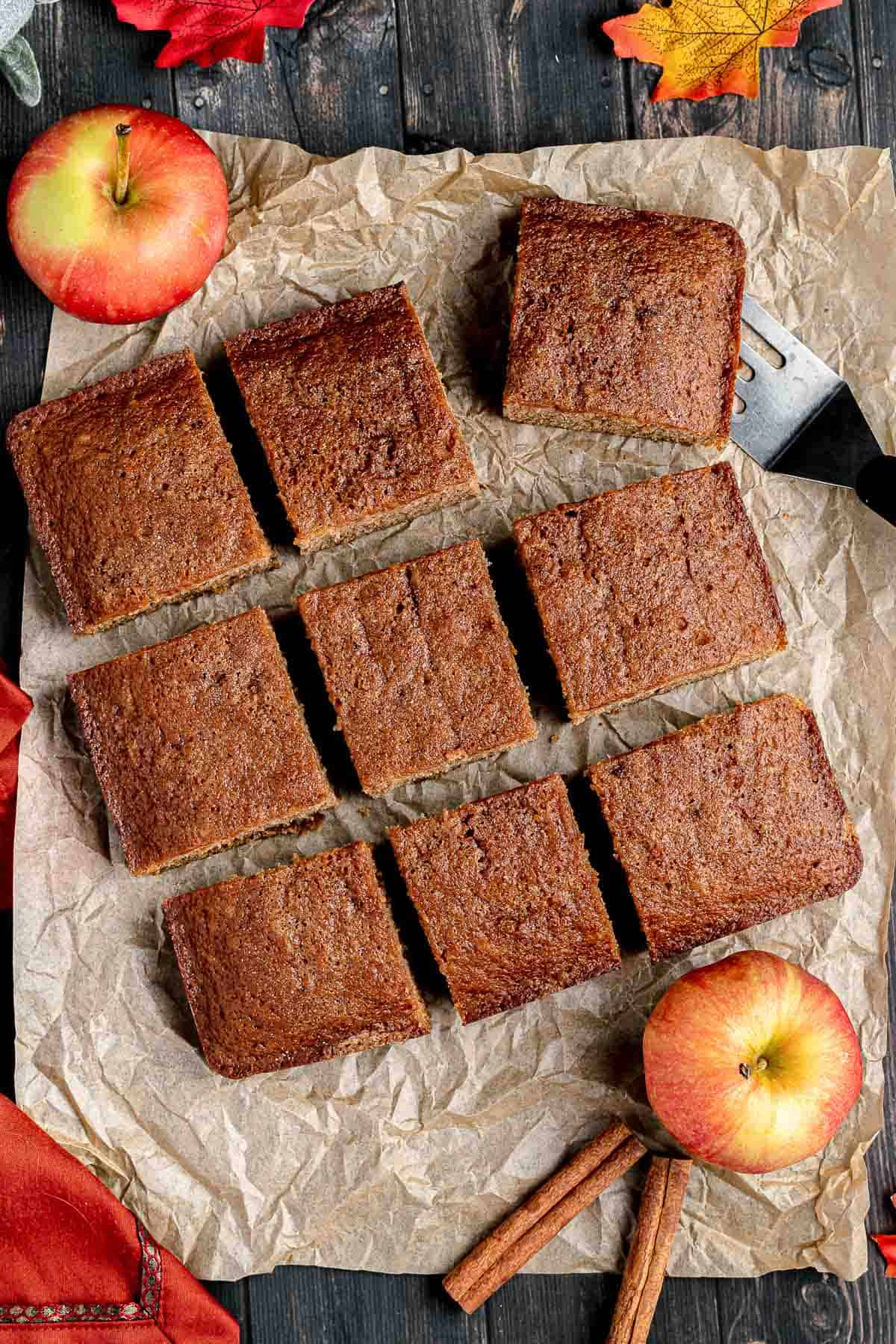 Apple Spice Cake cut into sqaures