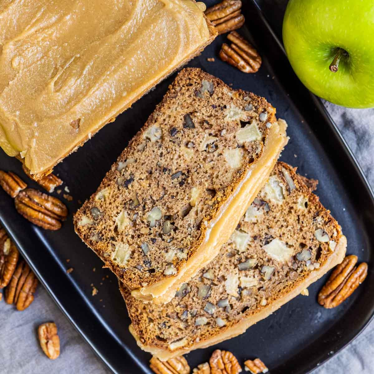 Caramel Apple Bread sliced on plate