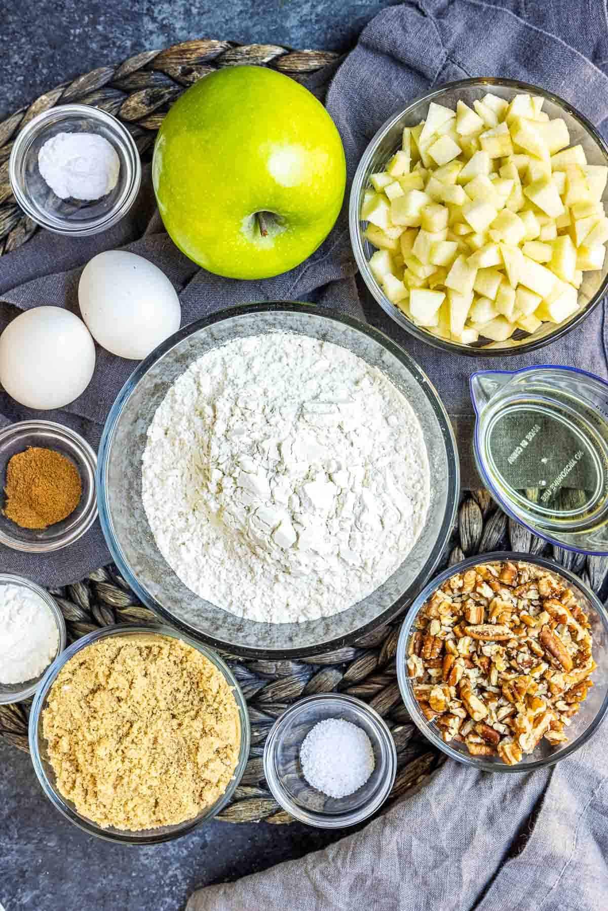 Ingredients for caramel apple bread
