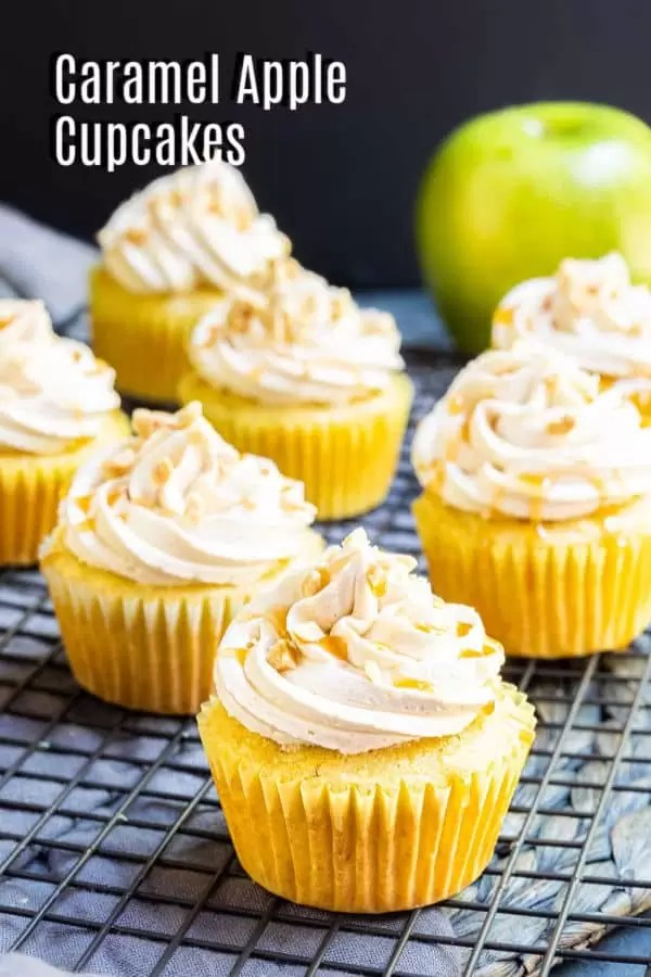 Pinterest image for Caramel Apple Cupcakes with title text