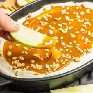 dipping into Caramel Apple Dip