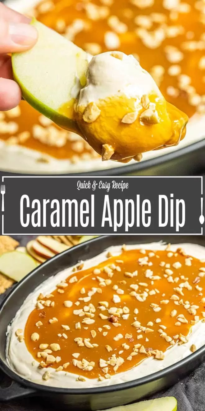Pinterest image of Caramel Apple Dip with title text