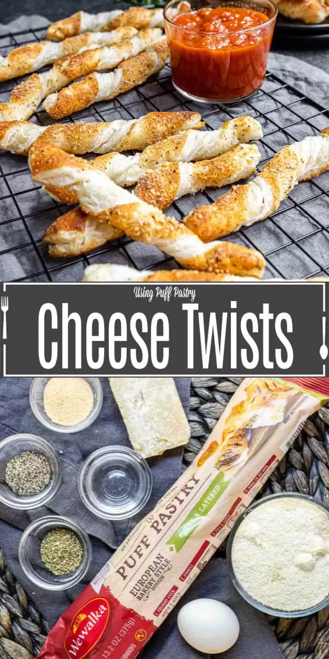 Pinterest image for Cheese Twists with title text