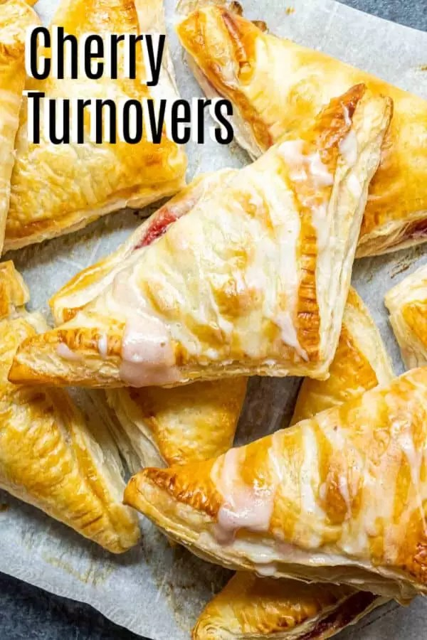 Pinterest image for Easy Cherry Turnovers with title text