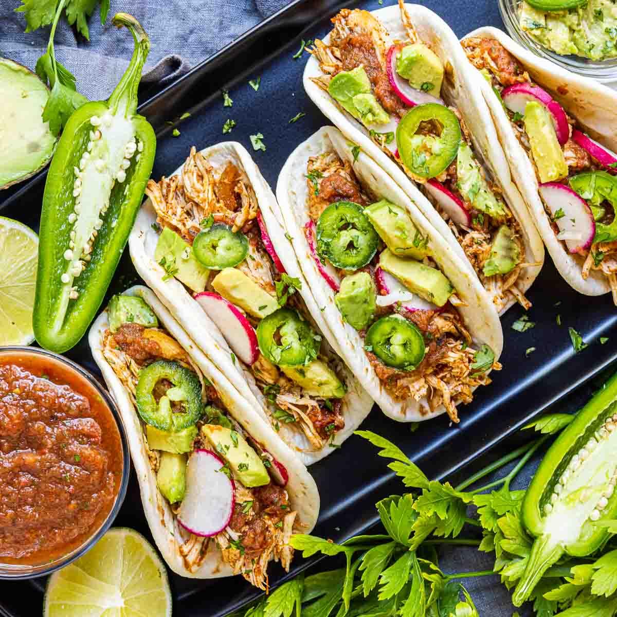 Instant Pot Chicken Tacos on platter