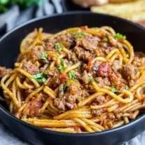 Instant Pot Spaghetti in a black bowl