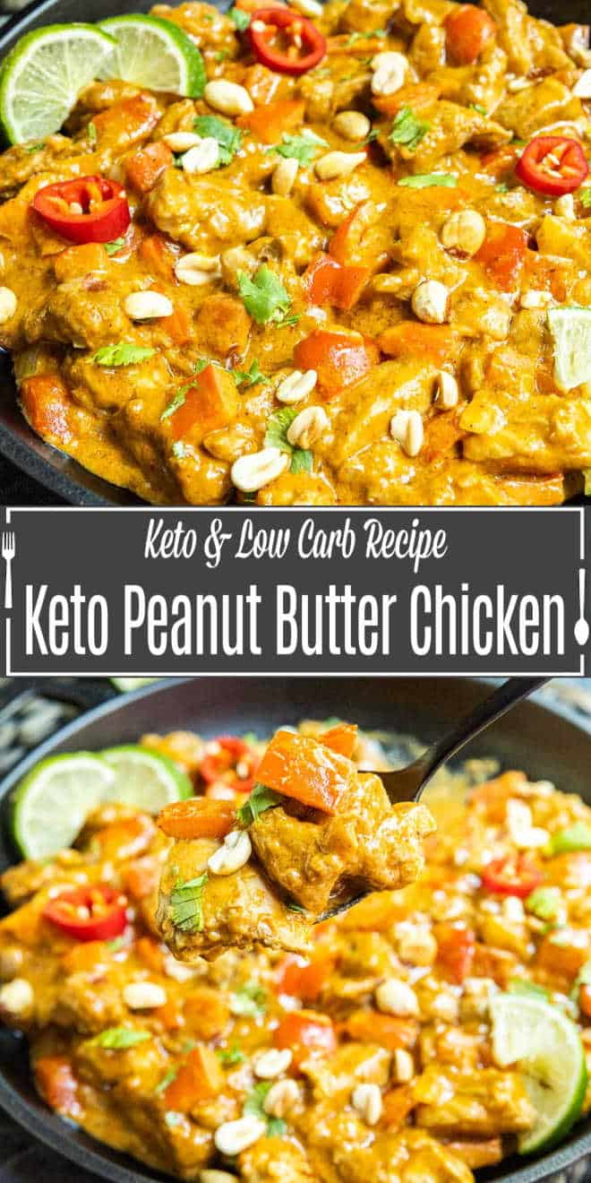 Pinterest image for Keto Peanut Butter Chicken with title text